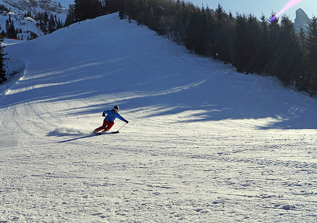 Downhill and alpine skiing on Tegelberg mountain