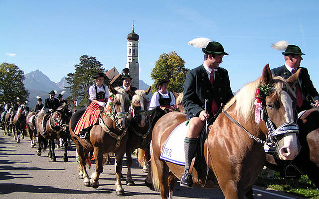 Traditional St. Coloman's ride in Autumn in Schwangau