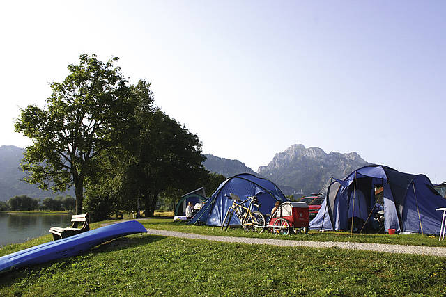 Campingsite Brunnen, on the banks of the Forggen lake in Schwangau,  Allgäu, Bavaria