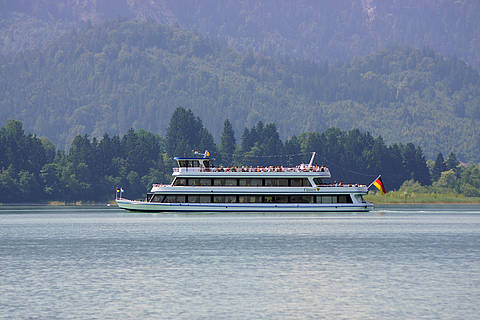 Boat trips on lake Forggensee in Schwangau, Bavaria
