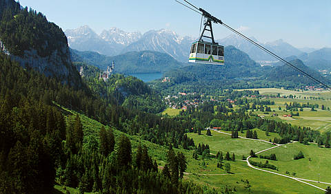The mountain cable car Tegelbergbahn