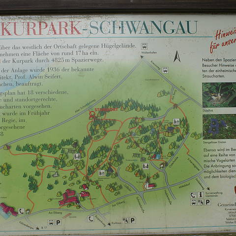 Signs explain the Kurpark facilities