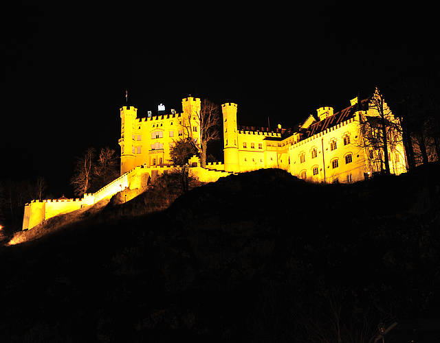 Hohenschwangau castle in the night