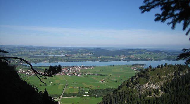 Panoramic View from the mountains of Schwangau into the valley