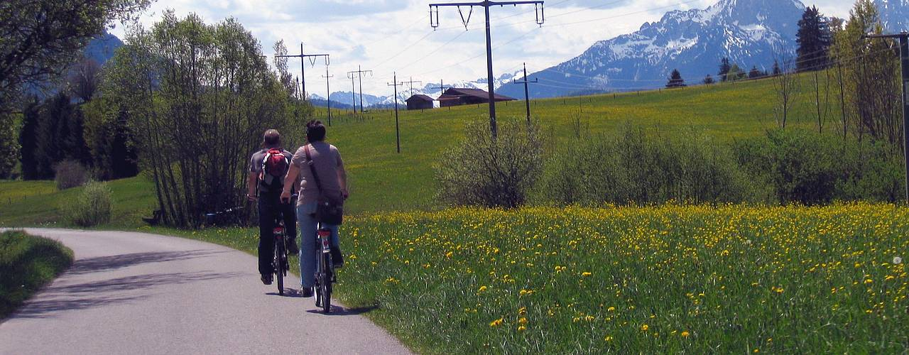 Biking close to Neuschwanstein castle in the springtime