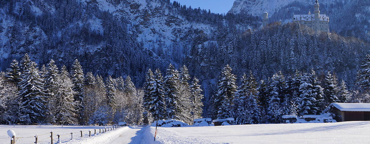 Hiking close to Neuschwanstein in the wintertime in Schwangau, Bavaria